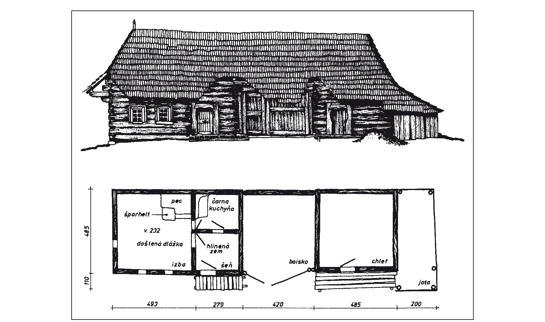 Konštrukcia domu zo 60. rokov 19. storočia, bočný pohľad a pôdorys